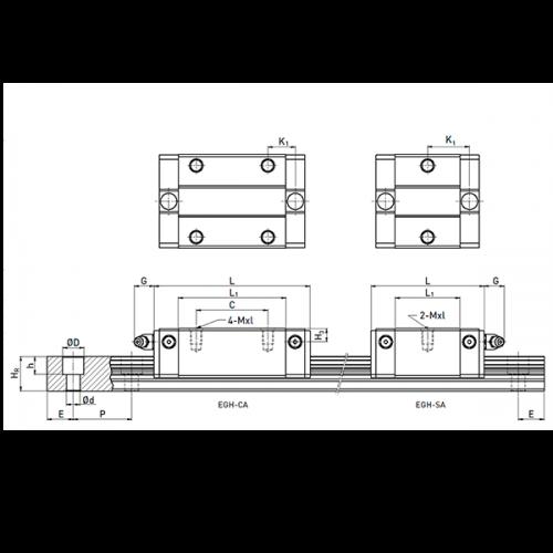 Линейная шариковая каретка <span> EGH15CAZ0 </span> Hiwin