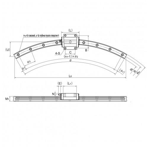 Линейная шариковая направляющая <span> HCR45A+60/800R </span> THK