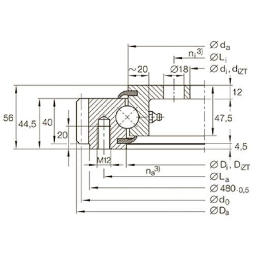 Опорно-поворотное устройство VLA200414-N INA