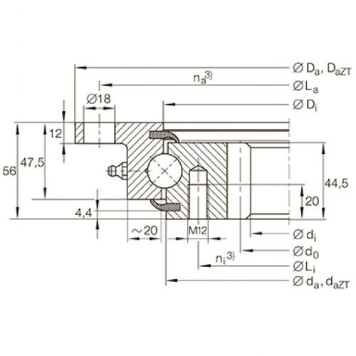 Опорно-поворотное устройство VLI200644-N INA
