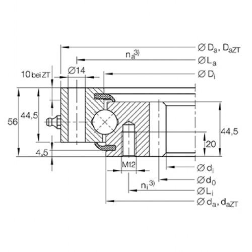 Опорно-поворотное устройство VSI200744-N INA